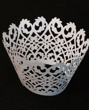 48 White Filigree Cupcake Wrapper Wedding Decoration Favor