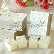 Set Love Story Candle in Book Shape Case Wedding Favour Party Gift O @