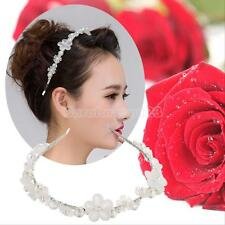 Pearl Flower Crystal Rhinestone Party Bridal Headband Hair Band Tiara Hair Band