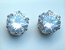 Clear Crystal & Silver Tone Round  Stud Earring - 10mm - Post & Butterfly Back