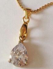 Beau pendentif collier bijou plaqué or goutte zirconium à facette diamant 2689