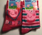 Girls 2 pack Socks with Peppa Pig detail. Sizes 6-8.5, 9-11.5, 12-2.5