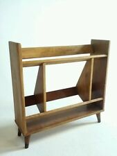 VINTAGE ATOMIC SPUTINK WOOD WALNUT RECORD BOOK RACK MID CENTURY DANISH MODERN