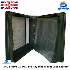 10 x 240 Sleeve CD DVD Blu Ray Disc Wallet Holder Bag Storage Carry Case Leather