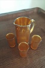 Tumblers  Imperial Marigold Carnival Glass Tree Bark Pitcher and 3 glasses