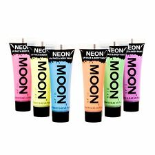 MOON GLOW Pastello Neon UV viso & corpo pittura Festival Rave Party Set di 6 x 12ml