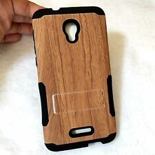 For Alcatel One Touch Fierce 4 - HYBRID ARMOR CASE BROWN PLASTIC WOOD KICKSTAND