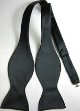 BL1001L Pure Black Solid 100%Silk Woven Men's Self Bow Tie