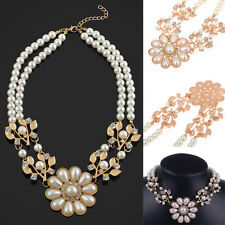 Fashion Women Flower Crystal Pearl Bib Choker Chunky Collar Statement Necklace