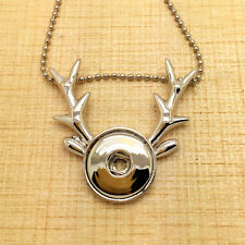 NEW DIY antlers Alloy Pendant for Fit Noosa Necklace Snap Chunk Button GR47