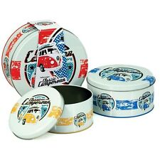 Official Volkswagen VW Classic Campervan 3 Piece Cake Tin Storage Set - Canister