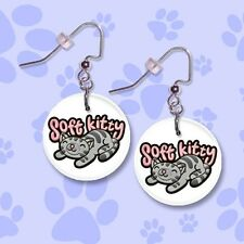 "**SOFT KITTY** Big Bang Theory 1"" Button Dangle Earrings *FREE PIN* ~~USA Seller"