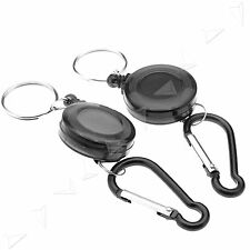 2xNoir Rétractable Porte Clé Badge Bobine Mousqueton Clip Passe ID Carte