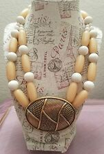 Vintage Trifari Chunky Statment plastic bead necklace with big oval pendant