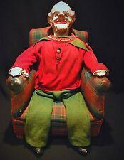 Vintage Papier Mache Ventriloquist Puppets with Original Suit and Seat
