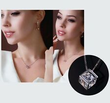 Women's/Girl's: Silver Plated Necklace With 3D Cube Pendant & Cubic Zirconia Gem