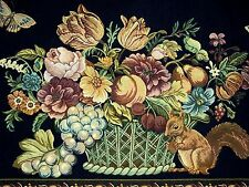 GORGEOUS WALL TAPESTRY FABRIC PANEL  FLORAL FRUITS BASKET SQUIRREL on Dark Blue