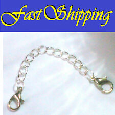 "4"" SILVER EASY OPEN DOUBLE LOBSTER CLAW CLASP NECKLACE BRACELET EXTENSION CHAIN"