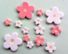 15 handmade ceramic pink andwhite blossom mosaic shape tiles