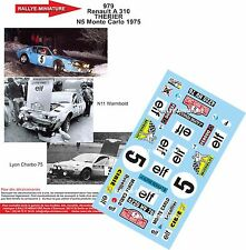 Decals 1/43 réf 979 Renault Alpine 310 Therier Monte Carlo 1975