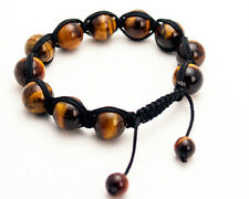 SEMIPRECIOUS TIGER EYE STONE SMOOTH BALLS BEADED BLACK CORD SHAMBALLA  BRACELET