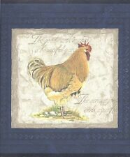 Rooster on Blue Venetian Plaster Wallpaper Border 30706510