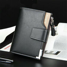 Zip Button Trifold Short Thin Leather Wallet Purse Card Holder for Men Black