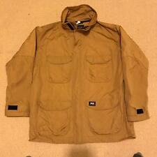 Helly Hansen Vintage Long Jacket Coat Khaki Brown Sz XL Extra Large Collared