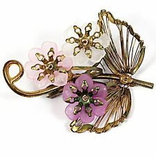 Pink Purple Flower Brooch Vintage Pin Frosted Lucite Gold Tone p389