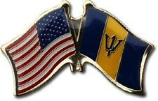 USA - BARBADOS FRIENDSHIP CROSSED FLAGS LAPEL PIN - NEW - COUNTRY PIN