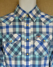 Hollister BLUE CHECKED Plaid Camicia Casual UK SMALL S