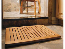 "TEAK WOOD RECTANGLE DOOR SHOWER SPA BATHROOM FLOOR MAT INDOOR OUTDOOR 24"" x 18"""