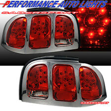 "1996-1998 FORD MUSTANG ""L.E.D."" TAIL LIGHTS RED LENS CHROME TRIM PAIR 96 97 98"