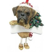 Boxer Brindle Uncropped Dangling Wobbly Leg Dog Bone Christmas Ornament