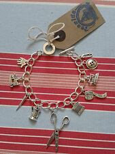 HAND MADE Great British Sewing Bee/Dressmaker Inspired Silver charm bracelet