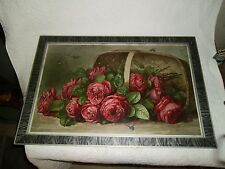 "1899 LARGE ANTIQUE OLD LITHOGRAPH ""BASKET OF ROSES"" PICTURE  FRAMED Nice !!"