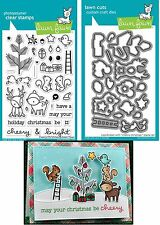 Lawn Fawn CHEERY CHRISTMAS Clear Stamps & Coordinating Lawn Cuts Dies LF1216
