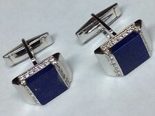 GORGEOUS DIAMONDS AND LAPIS IN 18K WHITE GOLD CUFFLINKS