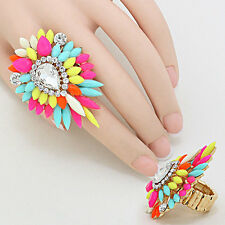 STUNNING Statement Huge Multi Crystal Stretch Cocktail Ring Rocks Boutique