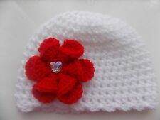 Baby Girl White Crochet Hat with a lovely large Red flower 0/3 mths