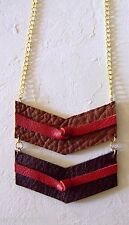 New Handmade Leather Chevron Pendant Necklace Long Metal Chain Adjustable Length