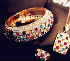Luxury Women Colourful Rhinestone Rings Crystal Finger Dazzling Ring Jewelry