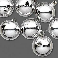 Jingle Bells Christmas Holiday Craft Jewelry 16mm Silver Tone Brass Lot of 10