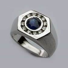 1ct (.97ct) Sapphire and Diamond Men's Ring