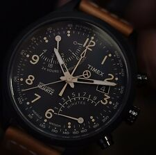 Timex Mens Intelligent Quartz SL Series Black Fly-Back Chronograph Brown Watch
