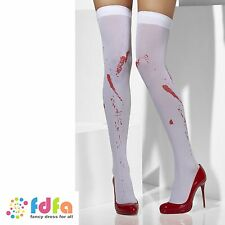 WHITE OPAQUE BLOOD SPATTER HOLD UPS STOCKINGS ladies accessory womens hosiery
