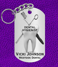 DENTAL Hygienist Engraved Keychain Gift with Name & Clinic! or Graduation Gift