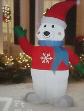 CHRISTMAS OUTDOOR LIGHTED AIRBLOWN INFLATABLE POLAR BEAR SWEATER WAVING FIGURE 7