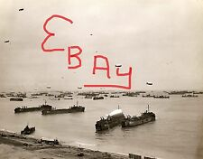WWII GREAT 11X14 PHOTO OF SHIPS AND LANDING CRAFT D-DAY PLUS 1 ON BEACH LOOK