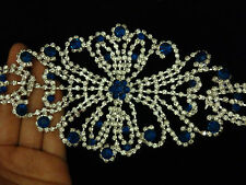 large rhinestone diamante applique patch trim sew on wedding bridal blue 195mm